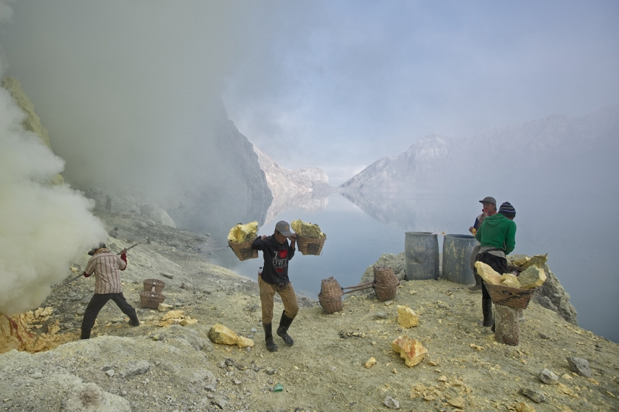 Sulfur hell Kawah Ijen crater