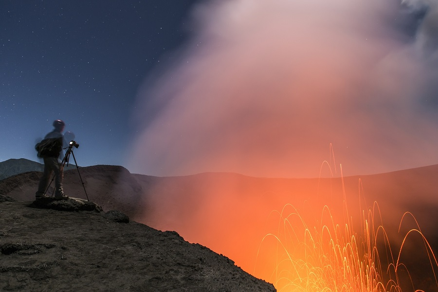 Human being at the volcano