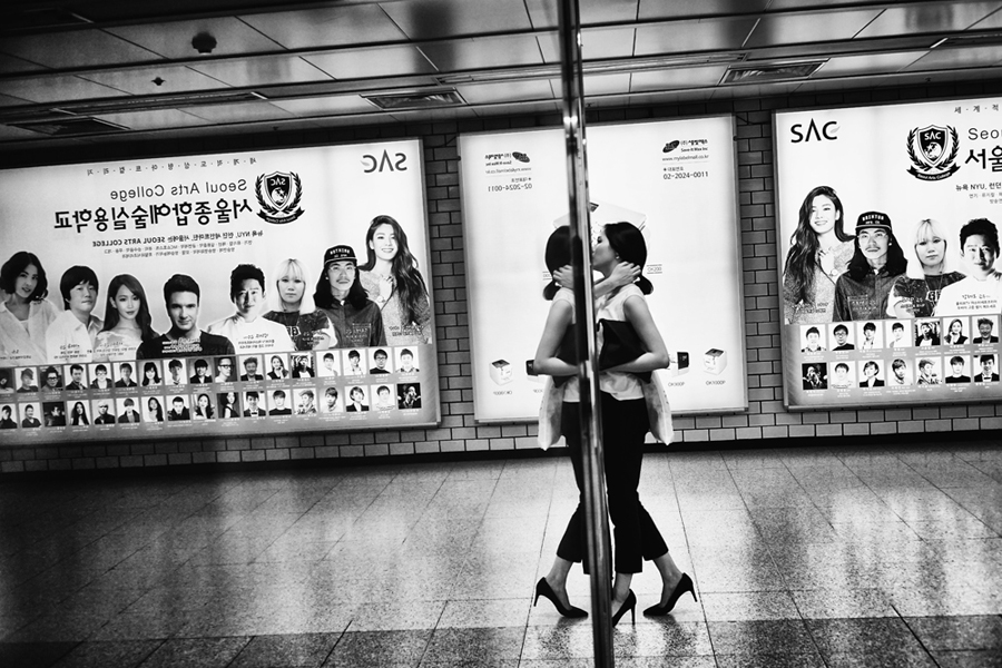 Reflections Inside The Seoul Metro