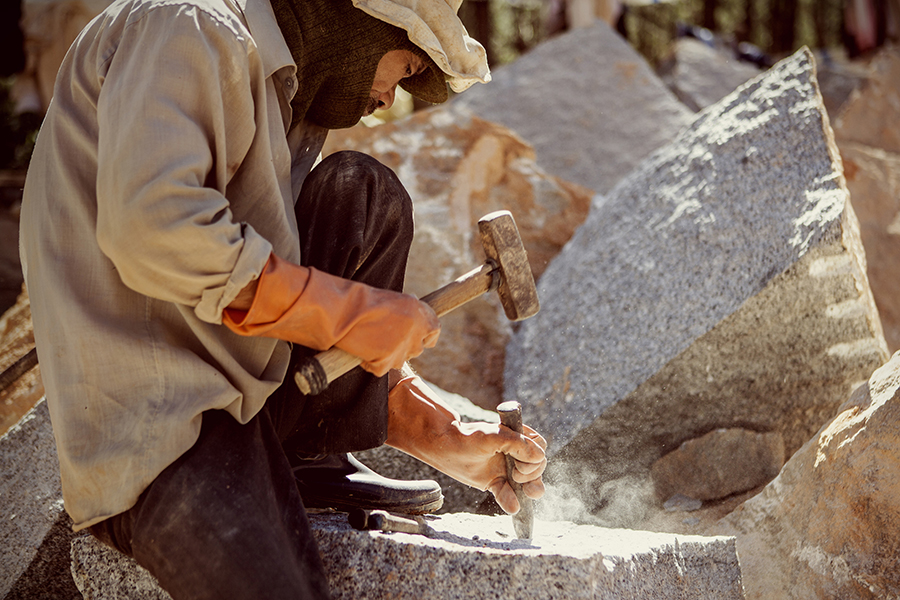 The hard work with granite