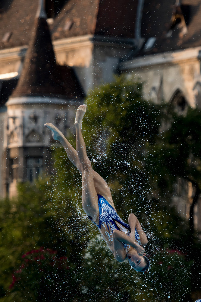 Swimming in front of the castle