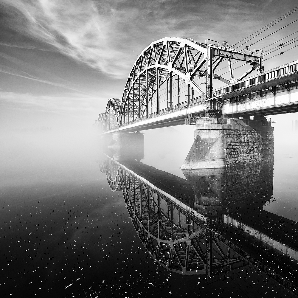 Bridge in the morning fog