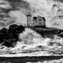Breaking waves  at Cape Neddick Lighthouse