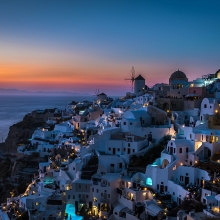 First lights in Santorini