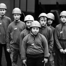 Team of young firefighters